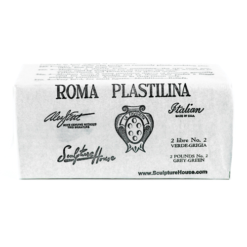 Roma 2 - Sculpture House Roma Plastalina Modeling Clay - 1/4 case - Grey Green - Medium-0