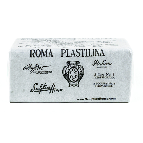Roma 3 - Sculpture House Roma Plastalina Modeling Clay - 1/4 case - Grey Green - Medium - Firm-0