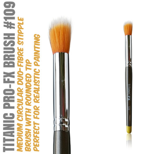Titanic Pro-FX Brush 109 - Medium Round Duo Fiber Stipple Brush – With Flat Tip